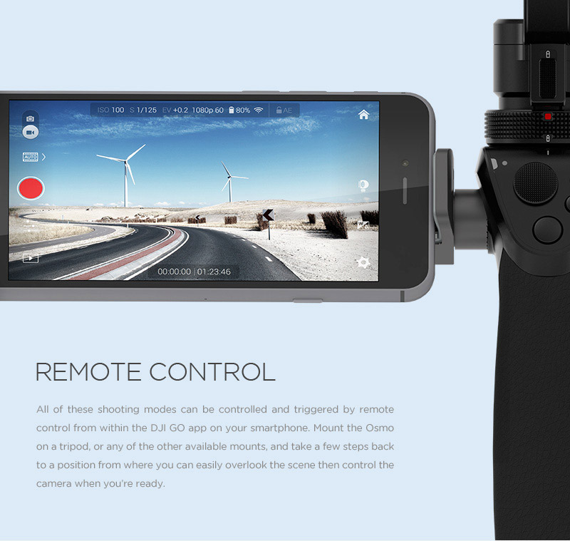 All of DJI's Smart Shooting modes can be controlled and triggered by remote control from within the DJI GO app on your smartphone. Mount the Osmo on a tripod, or any of the other available mounts, and take a few steps back to a position from where you can easily overlook the scene and control the camera.