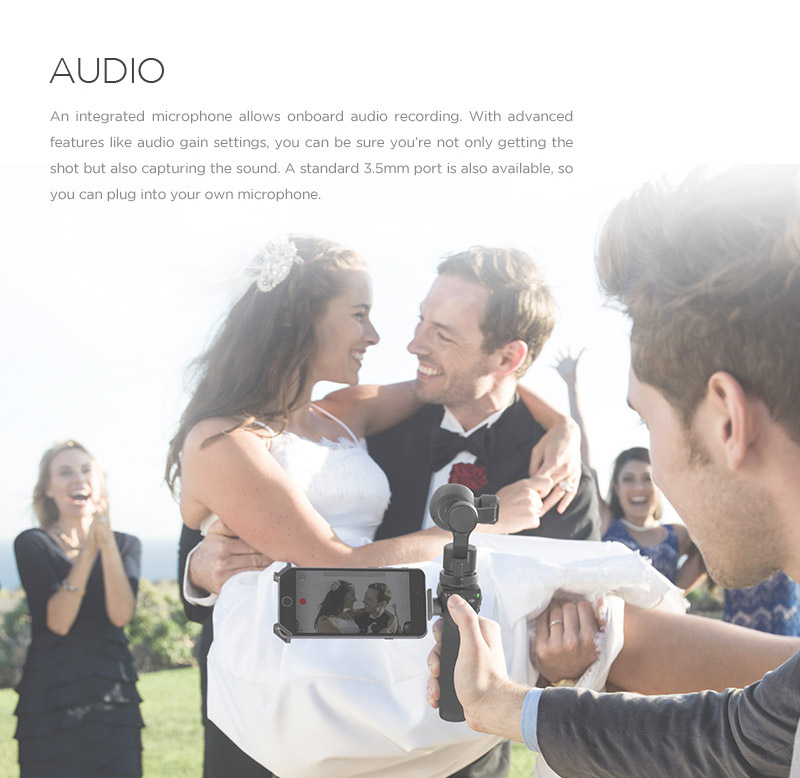 AUDIO  An integrated microphone allows onboard audio recording. With advanced controls like *audio gain settings, you can be sure you're not only getting the shot but also capturing the sound. A standard 3.5mm port is also available, so you can plug in your own microphone.