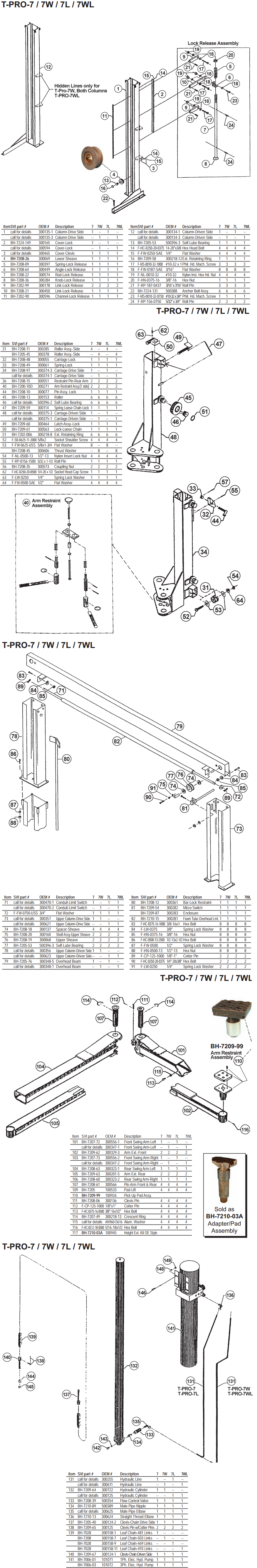 T PRO7 7W 7L 7WL parts diagram for benwil t pro7 benwil lift wiring diagram at eliteediting.co