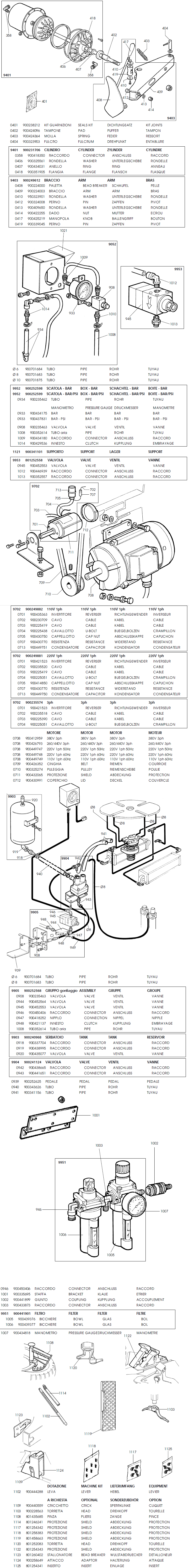 Equipment City Drill Parts Diagram Wiring List For Model Corghi Jolly