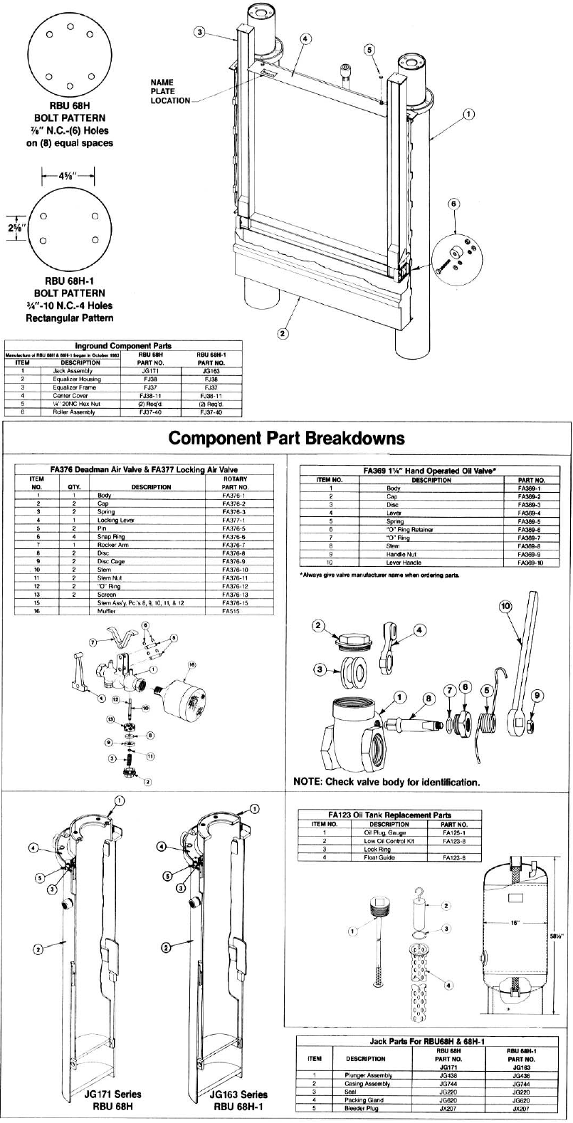 In Ground Lift Parts : Parts diagram for rotary rbu h and