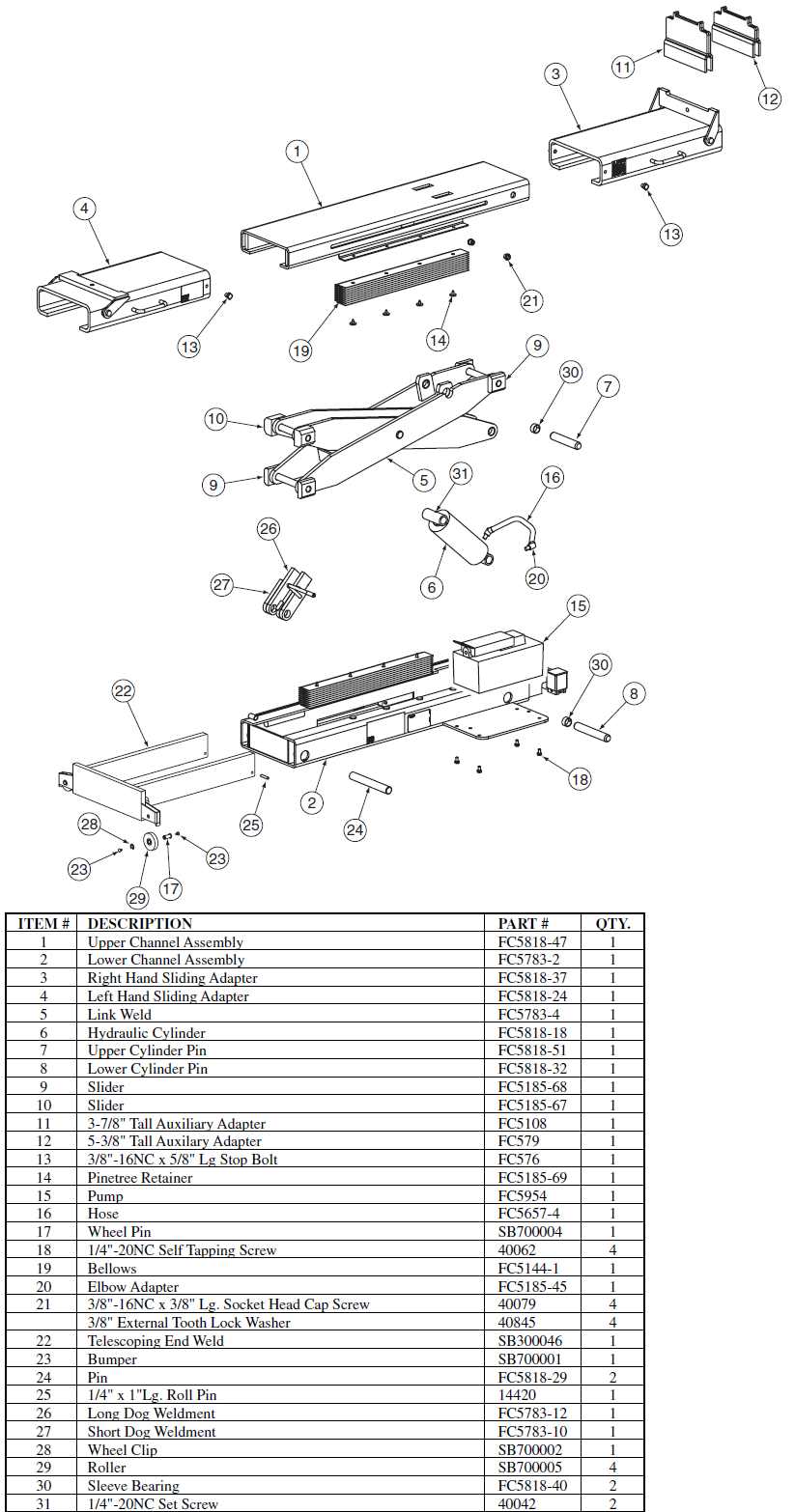 Rotary Lift Replacement Parts : Rotary rj parts diagram