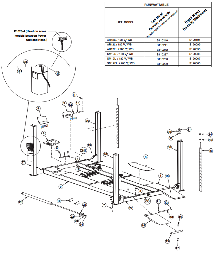 Rotary Lift Replacement Parts : Rotary sm parts diagram