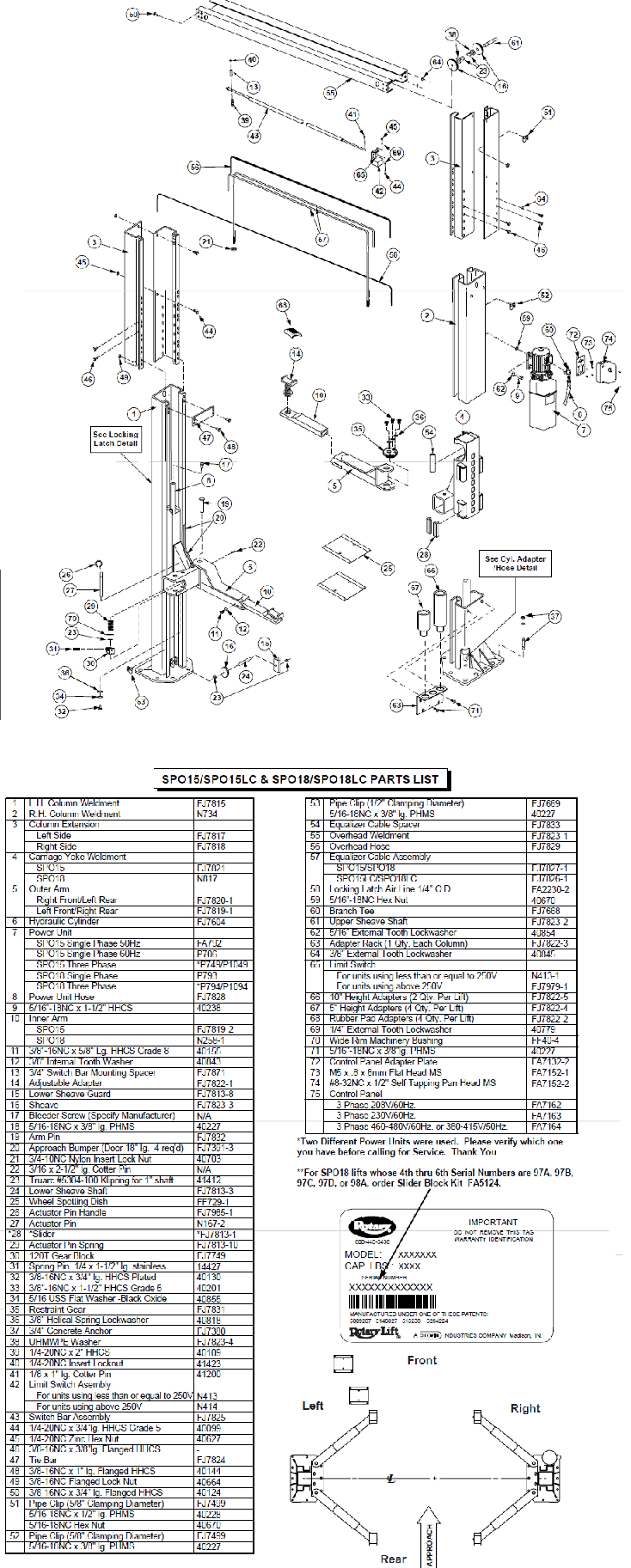 Rotary Lift Replacement Parts : Rotary spo lc parts diagram