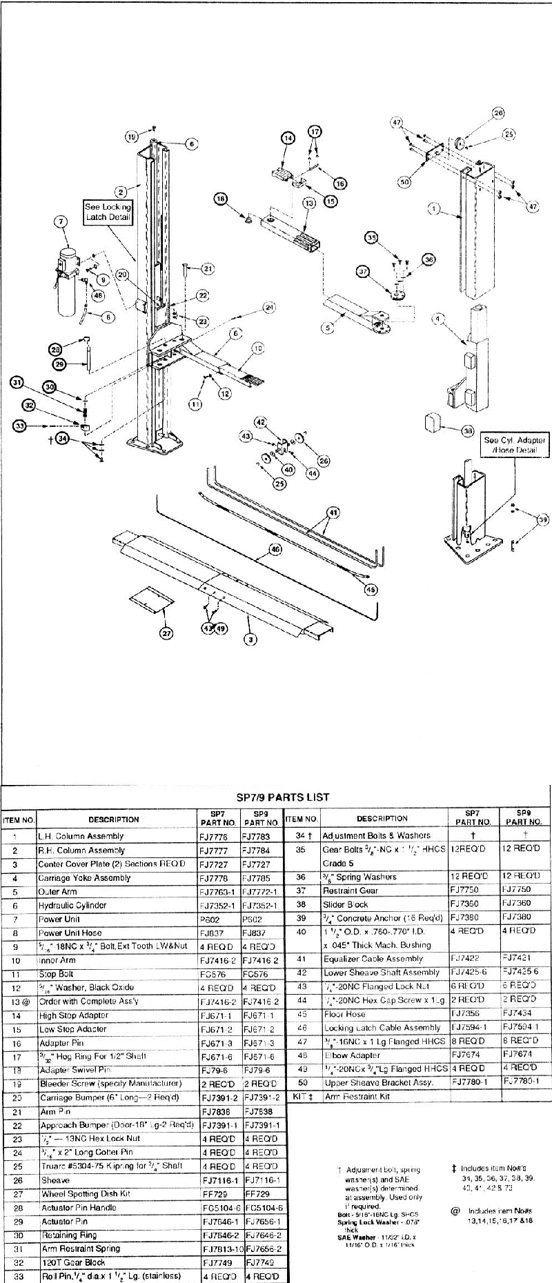 Rotary Lift Replacement Parts : Rotary sp parts diagram